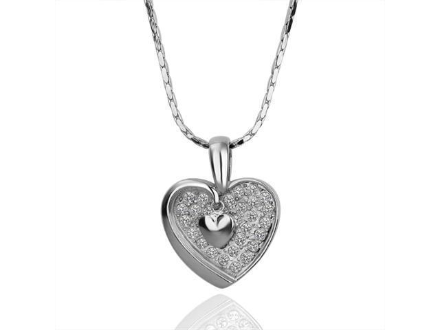 18K White Gold Plated Heart SWAROVSKI ELEMENTS Pendant Necklace