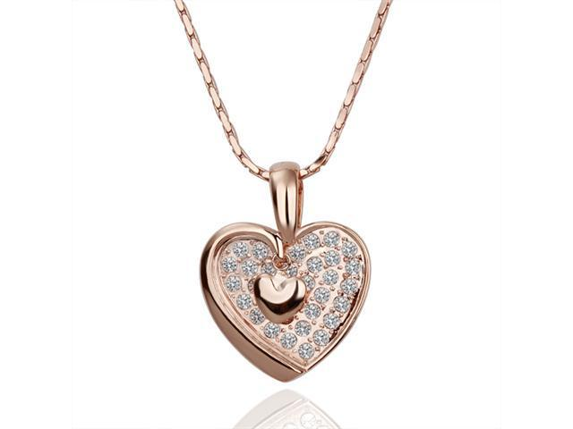 18K Rose Gold Plated Heart SWAROVSKI ELEMENTS Pendant Necklace