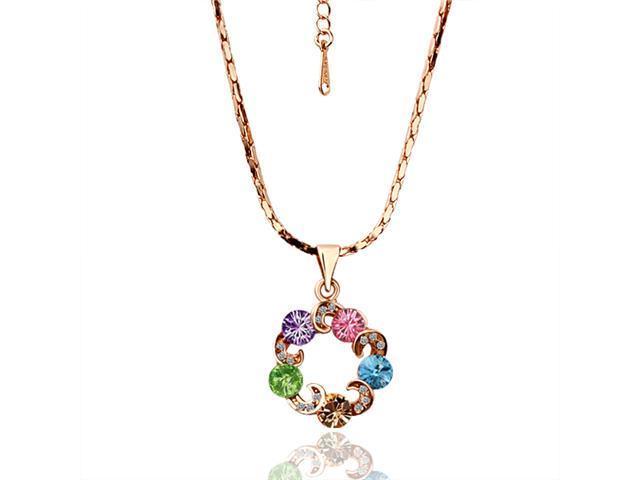 Adelle Rose Gold 18K gold plated Rhinestone Crystal SWAROVSKI ELEMENTS Pendant Necklace