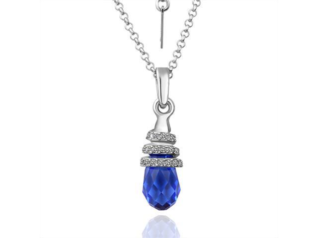 Eva Marine Blue 18K gold plated Rhinestone Crystal Pendant Necklace White Gold