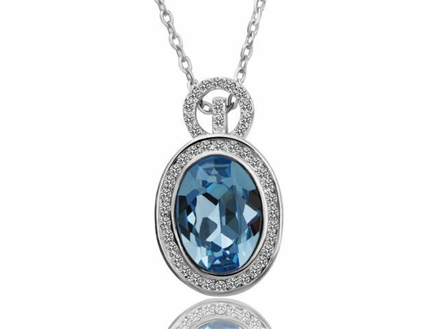 18K White Gold Plated Blue SWAROVSKI ELEMENTS Crystal Pendant Necklace