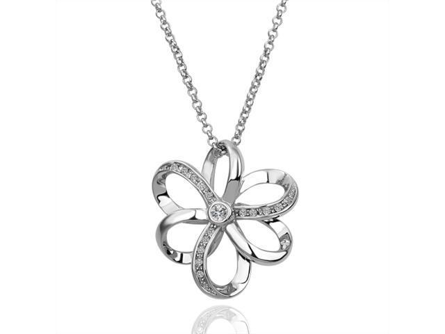 18K White Gold Plated Flower SWAROVSKI ELEMENTS Crystal Pendant Necklace