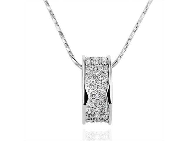 18K White Gold Plated Ring Swarovski Elements Crystal Pendant Necklace