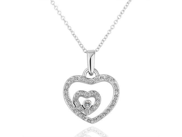 18K White Gold Plated Heart SWAROVSKI ELEMENTS Crystal Pendant Necklace
