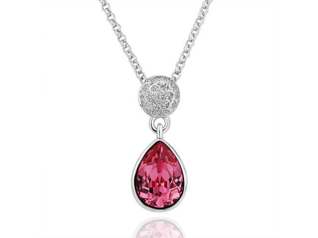 18K White Gold Plated Teardrop Pink SWAROVSKI ELEMENTS Crystal Pendant Necklace