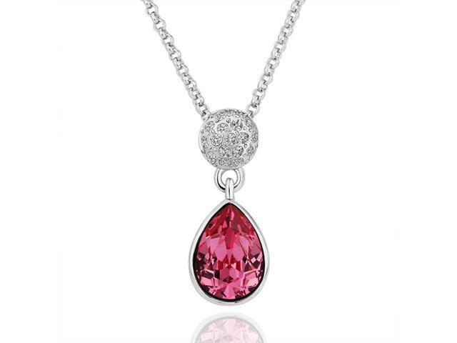 18K White Gold Plated Teardrop Pink SWAROVSKI ELEMENTS Crystal Pendant Necklace