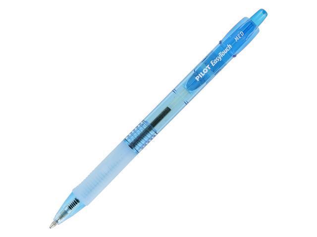 Pilot Easy Touch Retractable Ballpoint Pen, Neon Blue, Medium Point, Dozen