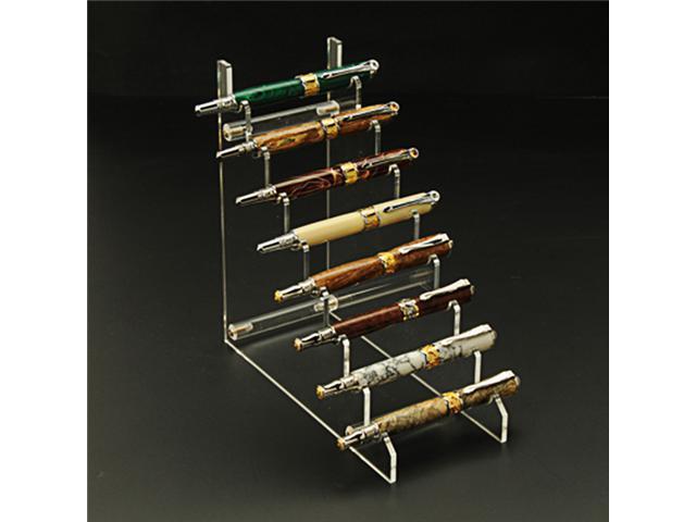 8 Pen Horizontal Premium Acrylic Pen Display Stand, Clear