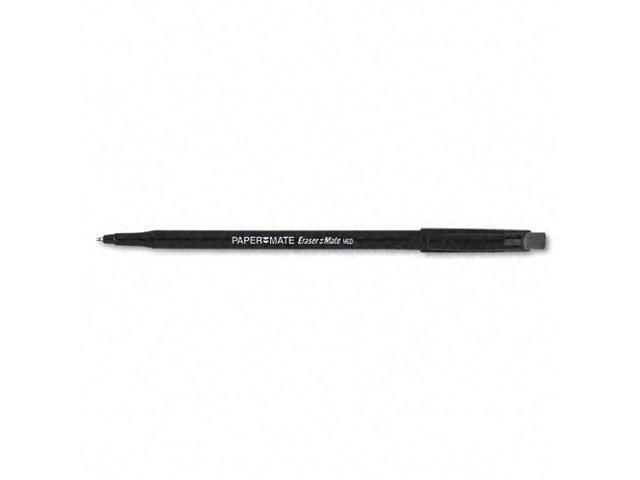 Papermate Eraser Mate Ballpoint Stick Erasable Pen, Black Ink, Medium Point, Dozen, DZ - PAP3930158