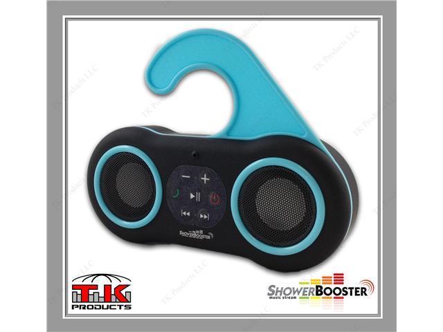 ShowerBooster Bluetooth Wireless Waterproof Shower Speaker & Handsfree Speaker Phone (Black), Works with all iOS & Android ...