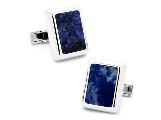 Silver tone and Lapis JFK Presidential Cufflinks