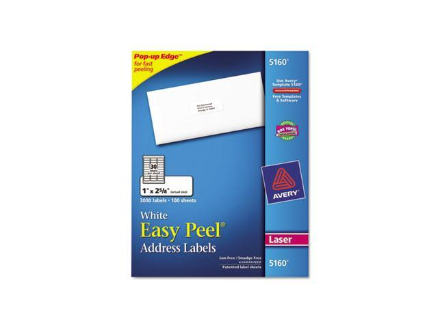 Avery Consumer Products AVE5160 Laser Labels- Mailing- 1in.x2-.63in.- White