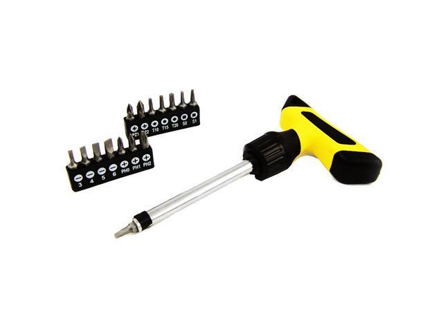 16pc Deluxe T-Handle Ratchet Screwdriver Set w/ Assorted Bits (Torx, Philips, Flat)