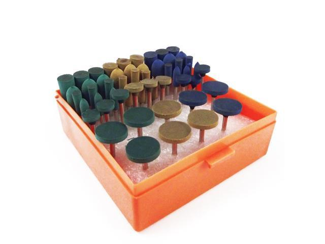 54pc Universal Rotary Tool Assorted Grit Rubber Polish Accessory Kit