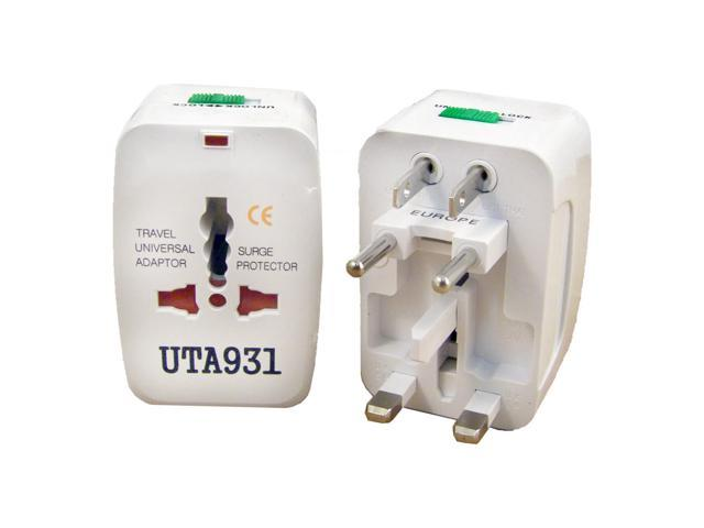 2 PACK All-in-One Travel Adapter Plug Surge Protector World Wide