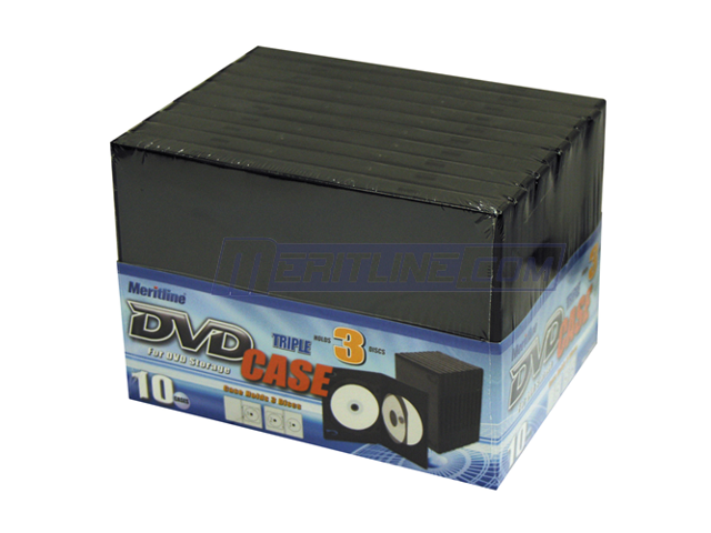 Merax 3-Disc DVD Case, 14mm, Black Color, 10-Pack