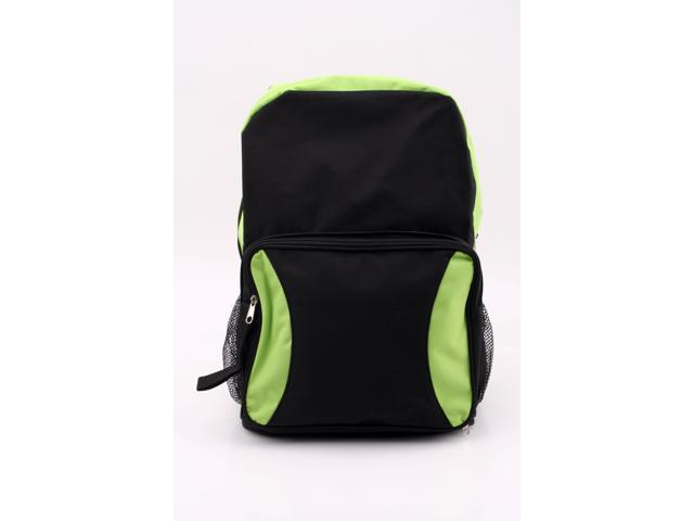 Merax School Snack Backpack (Backpack converts to a snack pack), Polyester, Light Weight, Black/Lime Color