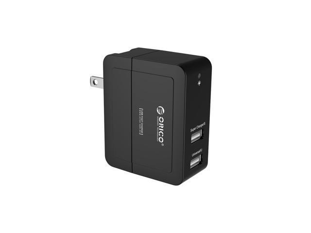 ORICO 20W Dual Port USB Wall Charger with Foldable Plug for Apple iPhone 6/ 6plus/ 5S, iPad Air2, Samsung Galaxy - Black (DCX-2U)