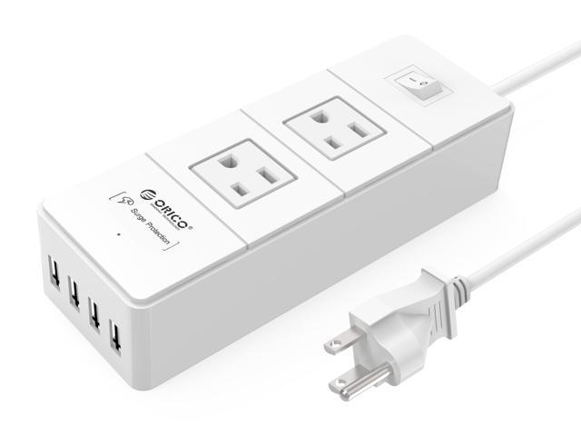 orico 2 outlet power strip with surge protector 4 usb charging ports 5v