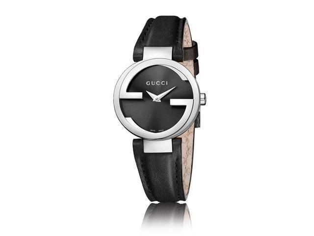 Gucci Interlocking G Black Dial Black Leather Strap Ladies Watch YA133501