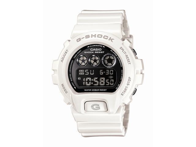 Casio G Shock Quartz Black Dial White Band - Men's Watch DW6900NB-7