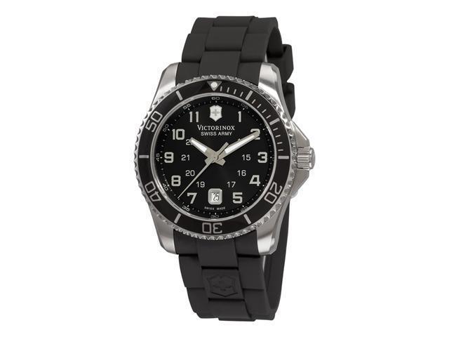 Victorinox Swiss Army Black Rubber Band Black Dial - Men's Watch 241435