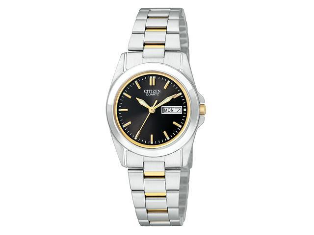 Citizen Quartz Stainless Steel Black Dial Women's Watch - EQ0564-59E
