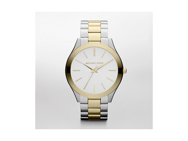 Michael Kors Slim Runway Silver Dial Two-tone Steel Unisex Watch MK3198