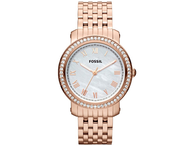 Fossil Emma Mother of Pearl Dial Rose Gold-tone Steel Ladies Watch ES3186