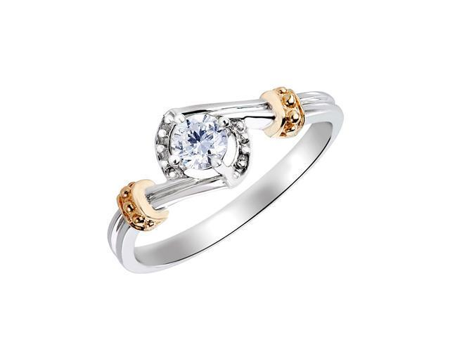 1/4 (ctw) Round Diamond Engagement Ring in 14K White and Yellow Gold