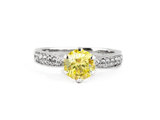1 (ctw)  Canary Yellow Round Diamond Engagement Ring in 14K White Gold