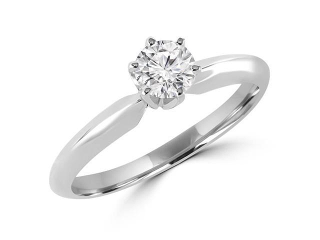 1/5 CT 6-Prong Solitaire Round Brilliant Diamond Engagement Promise Ring in 10K White Gold