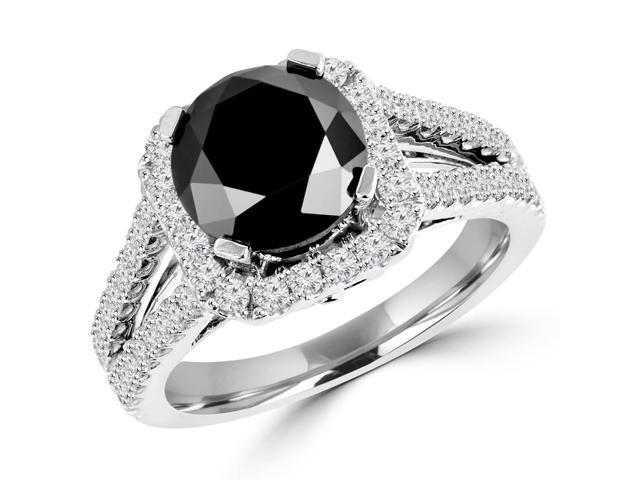 2 1/4 CTW Black and White Diamond Halo Engagement Ring in 14K White Gold