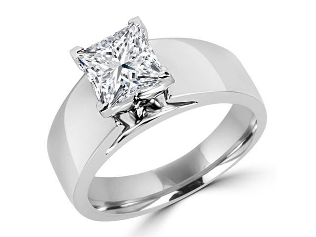1 CT Solitaire Princess Cut Diamond Wide Shank Engagement Ring in 14K White Gold