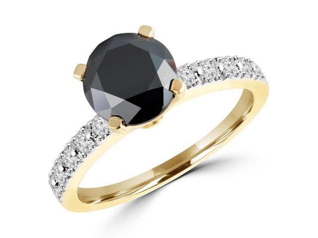 2 1/4 CTW Multi Stone Round Black and White Diamond Engagement Ring in 14K Yellow Gold