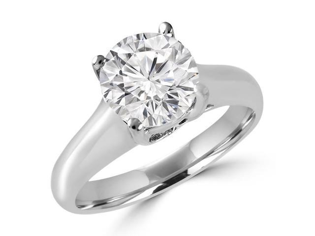 1 CT Solitaire Round Diamond Trellis Engagement Ring in 14K White Gold (SI)