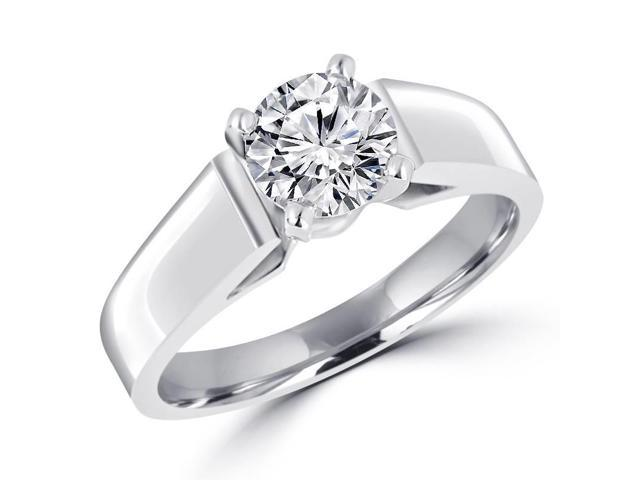 1 CT Solitaire Round Diamond Cathedral Engagement Ring in 14K White Gold (SI)