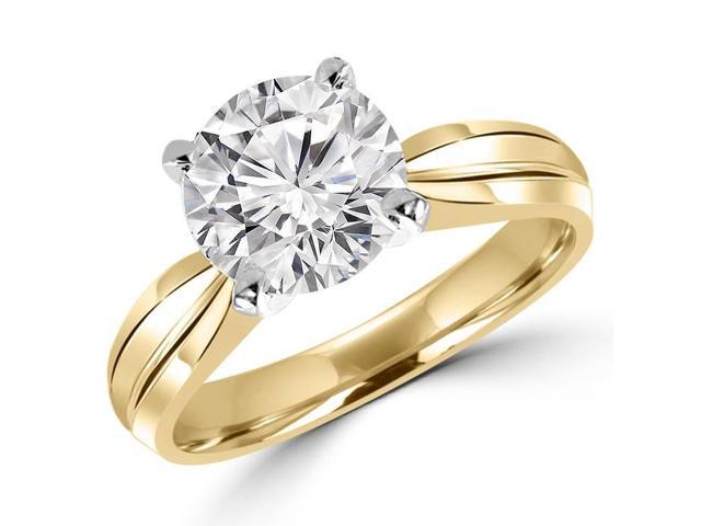 3/4 CT Solitaire Round Diamond Tapered Shank Engagement Ring in 14K Yellow Gold