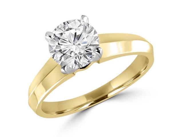 3/4 CT Solitaire Round Diamond Knife Edge Engagement Ring in 14K Yellow Gold