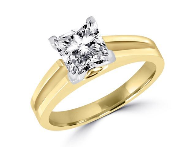 3/4 CT Solitaire Princess Cut Diamond Split Shank Engagement Ring in 14K Yellow Gold (SI)