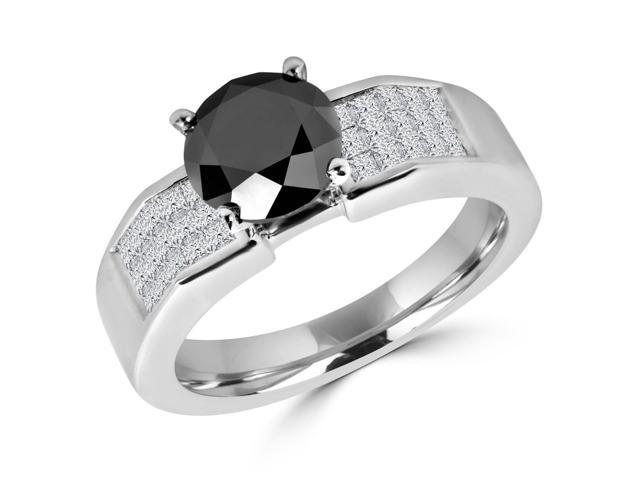2 1/10 CTW Black and White Diamond Fashion Engagement Ring in 14K White Gold (MD120332)