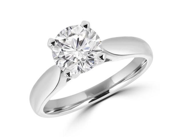 3/4 CT Solitaire Round Diamond Tapered Cathedral Engagement Ring in 14K White Gold (SI)