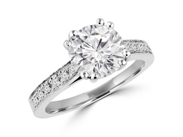 1 1/7 CTW Multi Stone Round  Diamond Engagement Ring in 14K White Gold