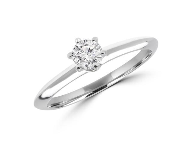 1/5 CT 6-Prong Solitaire Round Diamond Engagement Ring in 10K White Gold