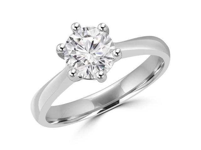 3/4 CT 6-Prong Solitaire Diamond Tapered Cathedral Engagement Ring in 14K White Gold (SI)