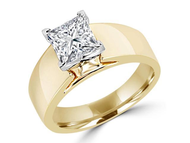 1/2 CT Solitaire Princess Cut Diamond Wide Shank Engagement Ring in 14K Yellow Gold