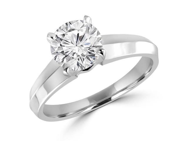 1 CT Solitaire Round Brilliant Diamond Knife Edge Engagement Ring in 14K White Gold (SI)