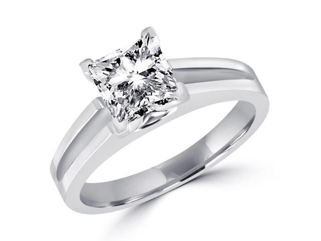 1 CT Solitaire Princess Cut Diamond Split Shank Engagement Ring in 14K White Gold