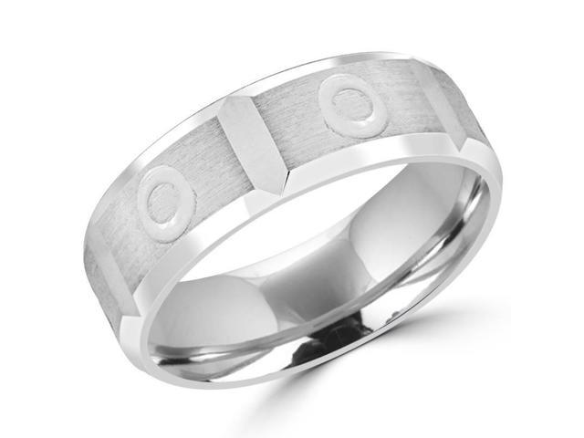 6.0 MM Brushed Mens Comfort Fit Wedding Band Ring in 14K White Gold