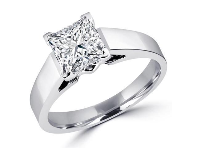 1 CT Solitaire Princess Cut Diamond Cathedral Engagement Ring in 14K White Gold